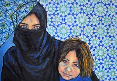 Refugee Mother and Child, Oil paint on canvas