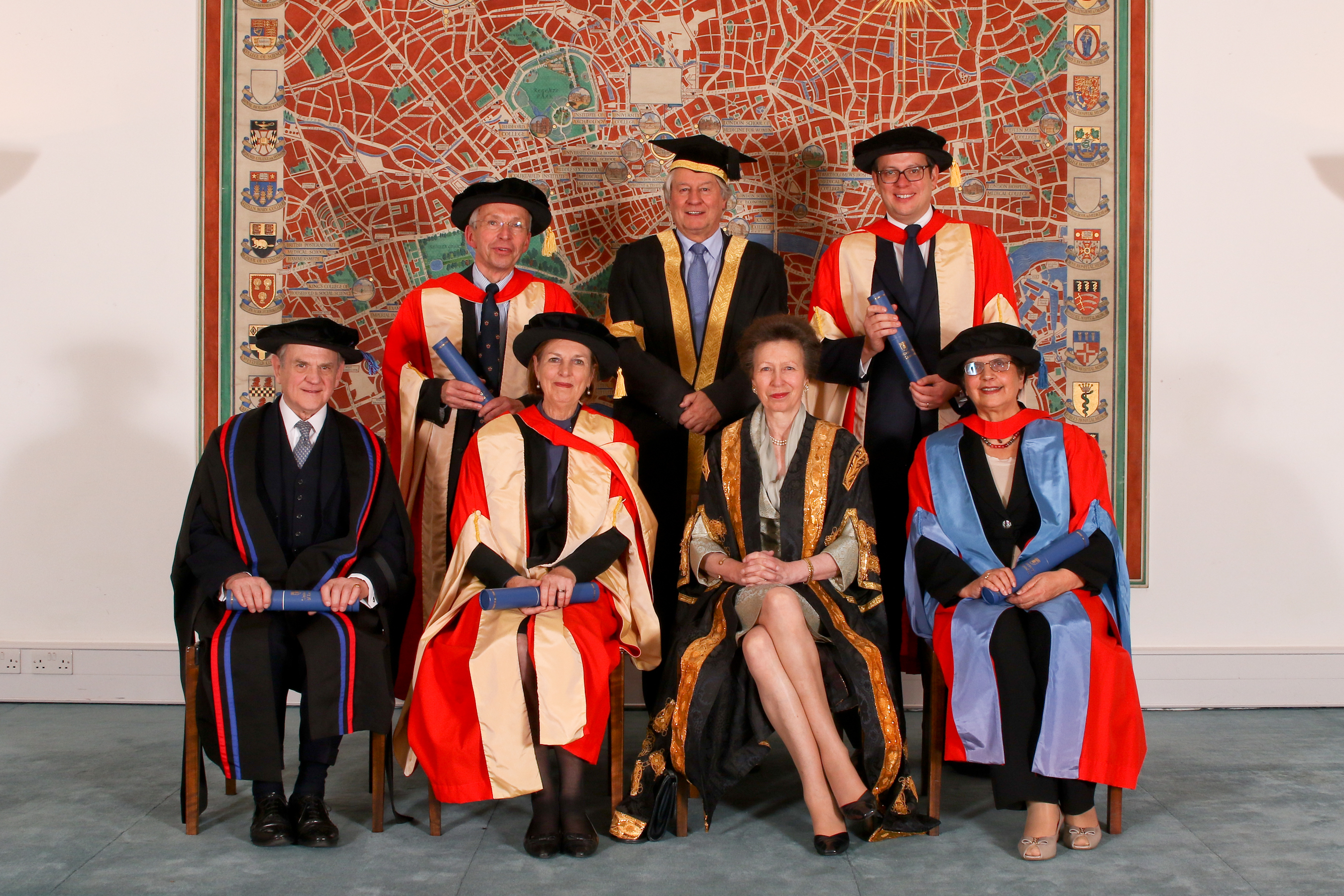 University of London Foundation Day 2016 at Senate House, London. The Chancellor HRH The Princess Royal presented an Honorary Fellow upon Charles Perrin CBE Hon. FRCP and Conferred four Honorary Graduants, Baroness Blackstone, Michael Hayman MBE, Professo