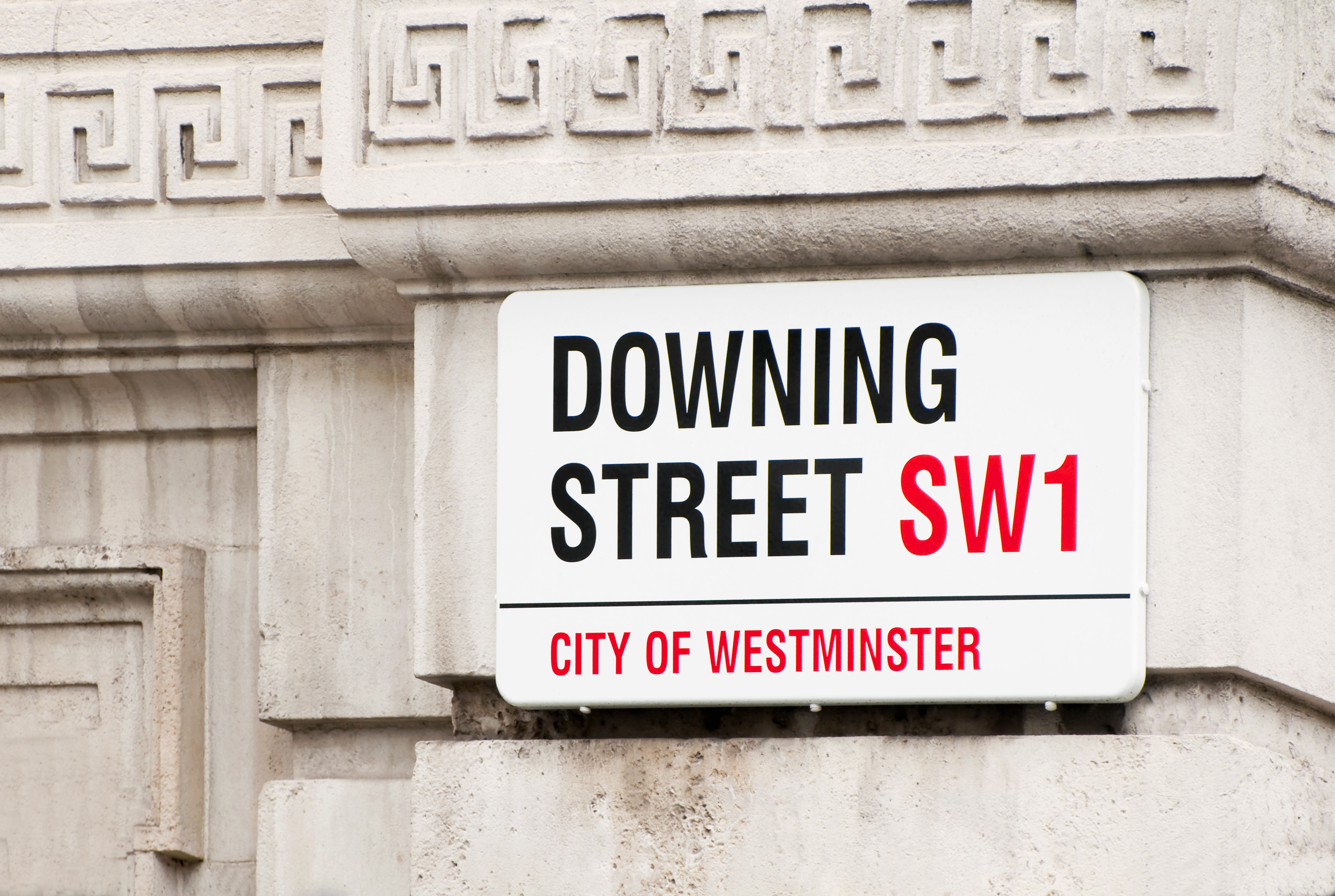 Close-up of Downing Street placard