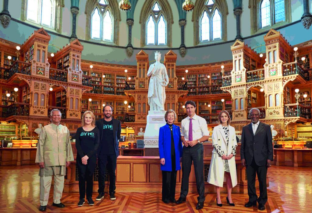 L:R Prof Muhammad Yunus, OYW co-founders Kate Robertoson and David Jones, Mary Robinson, Justin Trudeau, Emma Watson, Kofi Annan copy