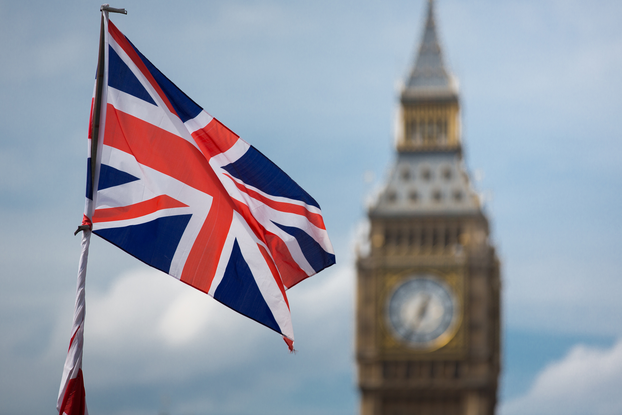 Big Ben and a Union Jack flag