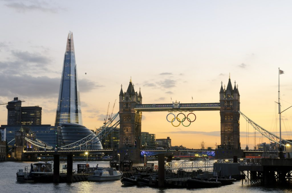 Tower Bridge during the 2012 Olympics, London
