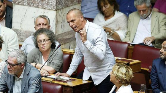 YV in Parliament - offering his seat to Tsipras